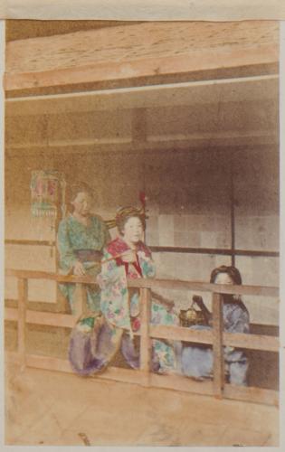 Shimooka Renjō, 'Edo Shinagawa jorō (Prostitutes of Shinagawa, Edo)'/ 'Interior of a Japanese house', c.1863-70.