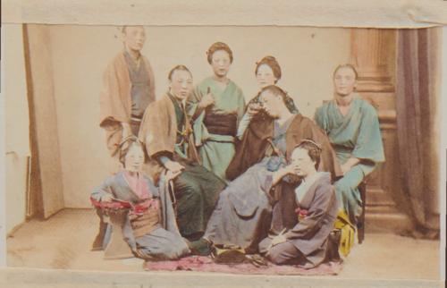 Shimooka Renjō, 'Yakunin no jorō-kai (Officials buying prostitutes)'/ 'Yakonins with their mistresses', c.1867-70.
