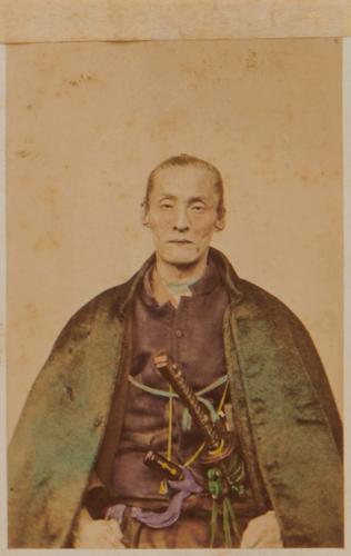 "Shimooka Renjō, 'Gun taishō (General in command of an army)'/ ' ""Enomoto"" the Insurgent', c.1868. Portrait of Nakajima Saburōsuke (1821-1869)."