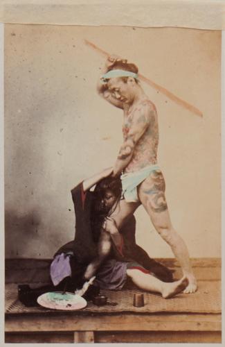 Shimooka Renjō, 'Nihon fūfu kenka (Japanese marital quarrel)'/ 'A bettoe beating his wife (…)', c.1863-70.