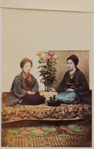 "Shimooka Renjō, 'Samurai no musume (Samurai's girl/s])'/ 'Belle of Yokohama on the right'; '""Take care! Beware! She is fooling thee"" I know her well', c.1863-70."
