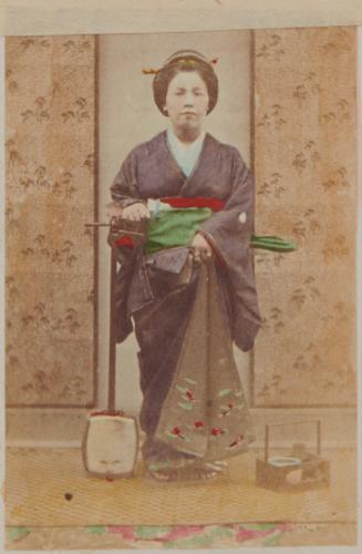 Shimooka Renjō, 'Shinagawa no geisha (Geisha of the Shinagawa Quarter)'/ 'Ready for an engagement', c.1863-70.