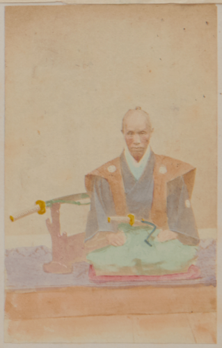 Shimooka Renjō, 'Kuge naihō (Wife of a court noble)' (sic), c.1863-65. Another example of a carte detached from its original location in the album, in this case a portrait of a yakunin in ceremonial dress.
