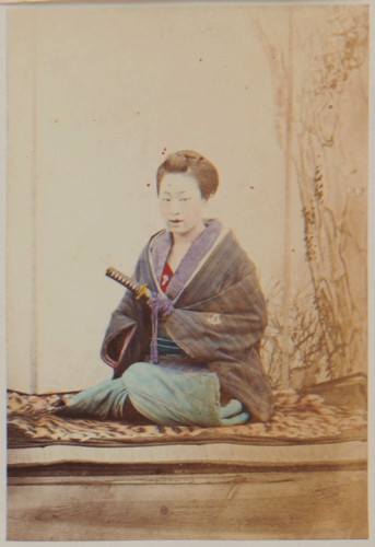 Shimooka Renjō, 'Nippon yakunin musume (Japanese official girl)'/ 'A young girl dressed up as a Yakunin', c.1863-70.