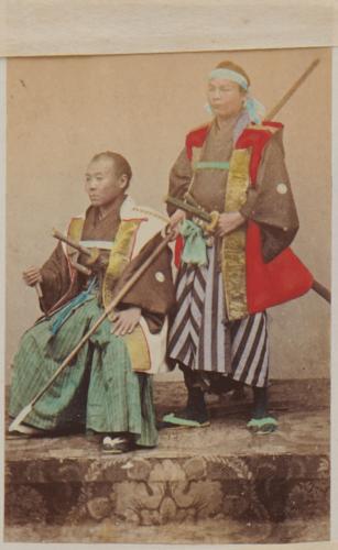 Shimooka Renjō, 'Daimyō hanchu shutsujin (Daimyō setting off on campaign)'/ 'A daimio with his fighting man', c.1863-70.