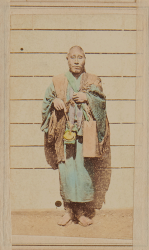 Shimooka Renjō, 'Bōzū sunawachi Zen-shū (Buddhist Priest/s, namely of the Zen sect)'/ 'Buddhist Priests', c.1863-70. The use of the plural in the caption indicates that the photograph was misplaced in this album.