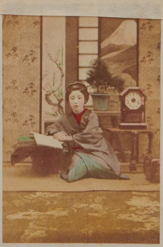 Shimooka Renjō, 'Yoshiwara Gankirō oiran (Courtesan of the Gankirō in the Yoshiwara Quarter)'/ 'Mode of dressing the hair', c.1863-70.