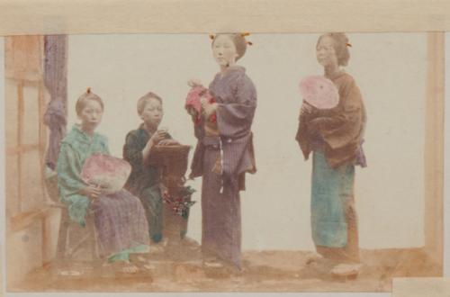 Shimooka Renjō, 'Rashamen musume ningyō (Doll of a Foreigner's Mistress)'/ 'Doll makers', c.1863-70.