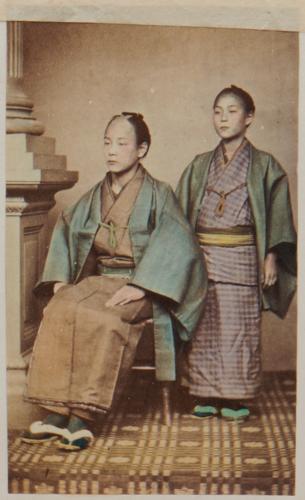Shimooka Renjō, 'Gofukuya ko (Child of a cloth merchant)'/ 'Merchants', c.1863-70. A carte showing one of Renjō's Western-style studio props.