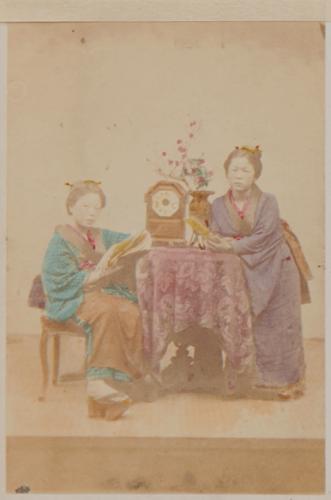 Shimooka Renjō, 'Moguri no musume (Unlicensed girls)', c.1863-70.