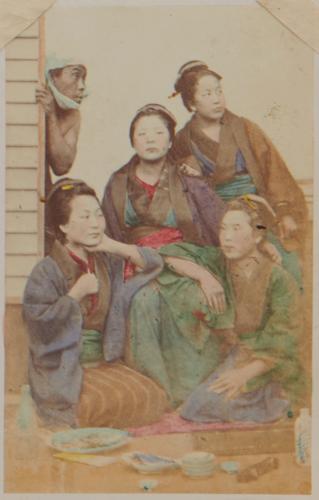 Shimooka Renjō, 'Nagaya musume kugatsu no tsukimi (Girls of a nagaya viewing the moon in September)'/ 'Moon & star gazers', c.1863-65.  The term nagaya normally described tenement dwellings, but in Renjō's portfolio they usually seem to refer to cheap brothels housing low-ranking prostitutes.