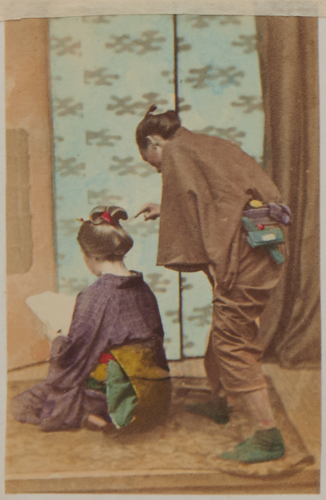 Shimooka Renjō, 'Toritsugi tegami no musume (Girl receiving a letter from an intermediary)', c.1863-70.