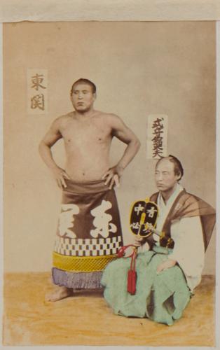 Shimooka Renjō, 'Gyōji (Umpire)'; 'Sumōtori (Sumo wrestler)'/ 'Wrestlers', c.1863-70.