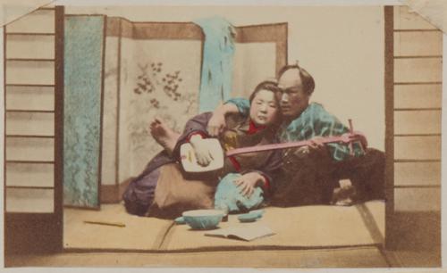 Shimooka Renjō, 'Shōnin jorō-kai (Merchant engaging a prostitute)'/ 'Free and Easy', c.1863-70.